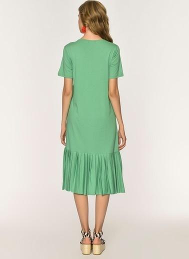 Loves You Eteği Piliseli Sweat Elbise Yeşil